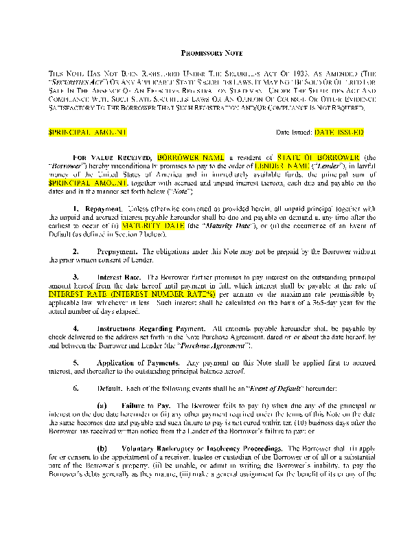 Promissory Note Loan Forms Templates and Contracts Custom Loan – Template for a Promissory Note